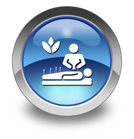 simbolo medicina: Icono, botón, pictograma con el símbolo de Medicina Alternativa
