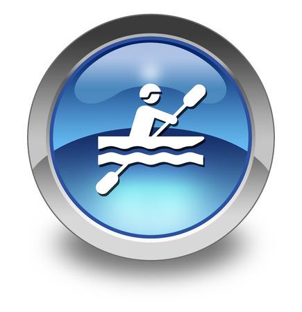 creek: Icon, Button, Pictogram with Kayaking symbol
