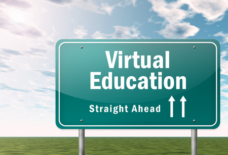 signpost: Signpost with Virtual Education wording Stock Photo