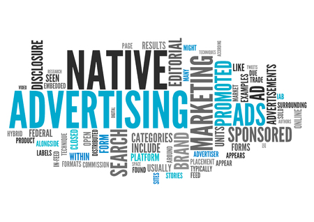 Word Cloud with Native Advertising related tags Stock Photo