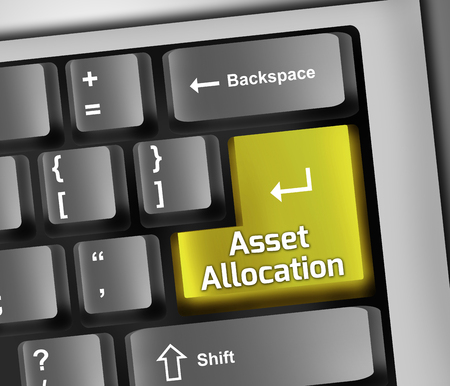 stockmarket: Keyboard Illustration with Asset Allocation wording Stock Photo