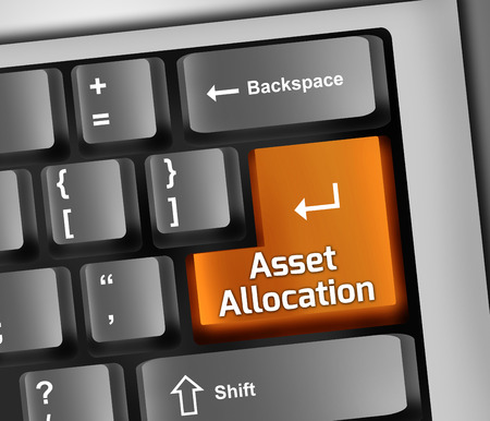 asset: Keyboard Illustration with Asset Allocation wording Stock Photo