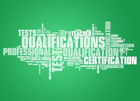 Nube de la palabra con las etiquetas de Cualificaciones relacionados Foto de archivo - 53788289