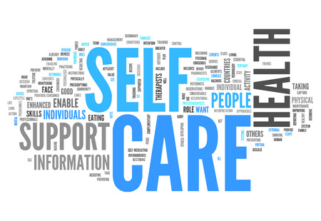 avoiding: Word Cloud with Self Care related tags Stock Photo