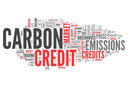 emission: Word Cloud with Carbon Credit related tags Stock Photo