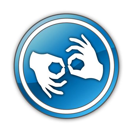 comunicacion no verbal: Icono, bot�n, pictograma con el s�mbolo de la Lengua de Signos Foto de archivo