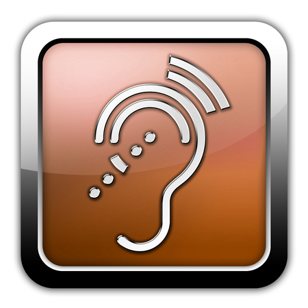hearing aid: Icon, Button, Pictogram with Hearing Impairrment symbol