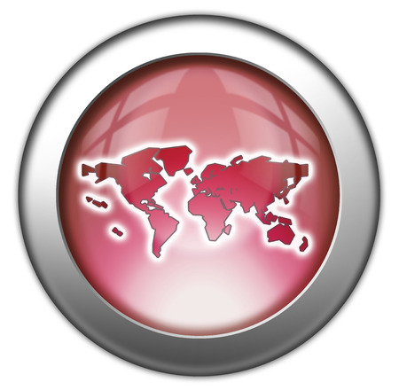 Icon, Button, Pictogram with World Map symbol