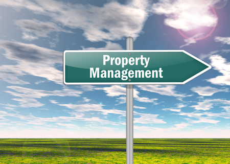 property management: Signpost with Property Management wording Stock Photo