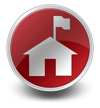 ranger: Icon, Button, Pictogram with Ranger Station symbol Stock Photo