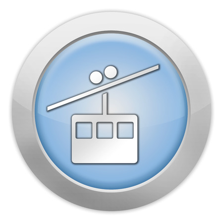 aerial: Icon, Button, Pictogram with Aerial Tramway symbol Stock Photo