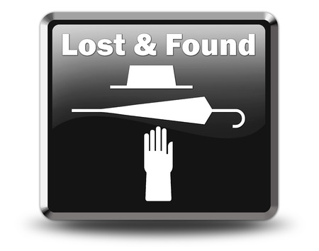 Icon, Button, Pictogram with Lost and Found symbol Stock Photo