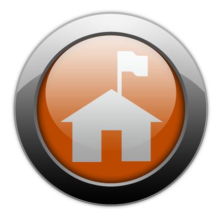 Icon, Button, Pictogram with Ranger Station symbol Stock Photo