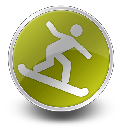 Icon, Button, Pictogram with Snowboarding symbol Stock Photo
