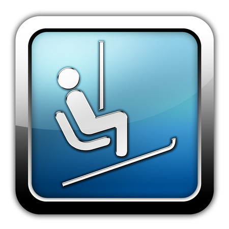 chairlift: Icon, Button, Pictogram with Ski Lift symbol