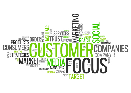 Word Cloud with Customer Focus related tags Banco de Imagens