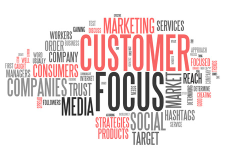 Word Cloud avec les étiquettes liées au client Focus Banque d'images - 83069862