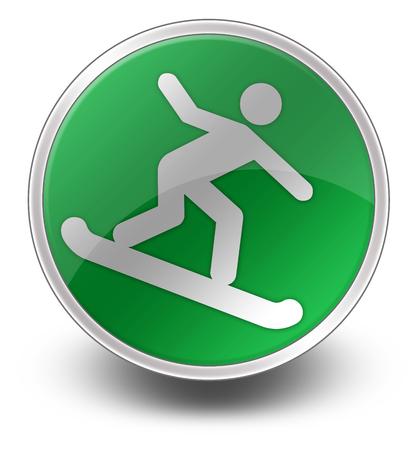Icon, Button, Pictogram with Snowboarding symbol Stock Photo