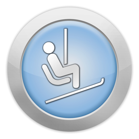 Icon, Button, Pictogram with Ski Lift symbol