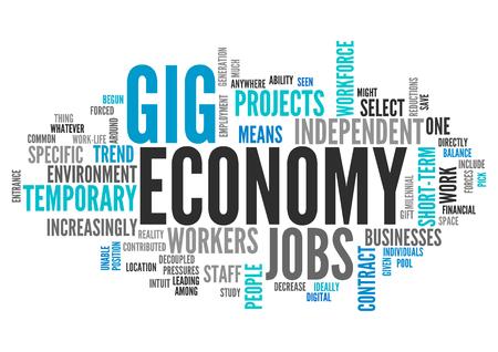 Word Cloud met Gig Economy gerelateerde tags Stockfoto