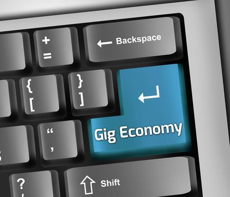 Toetsenbord Illustratie Met Gig Economie formulering