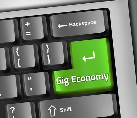 ギグ経済言葉遣いとキーボードの図