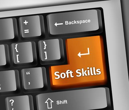 Keyboard Illustration with Soft Skills wording