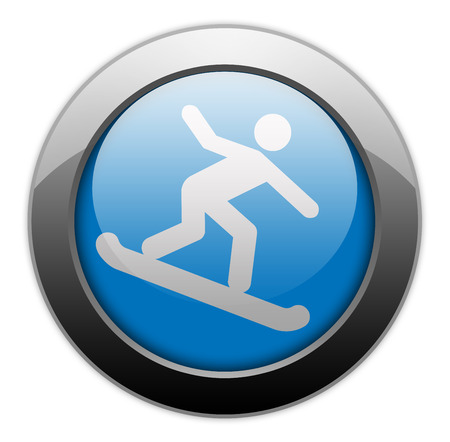 Icon, Button, Pictogram with Snowboarding symbol Imagens