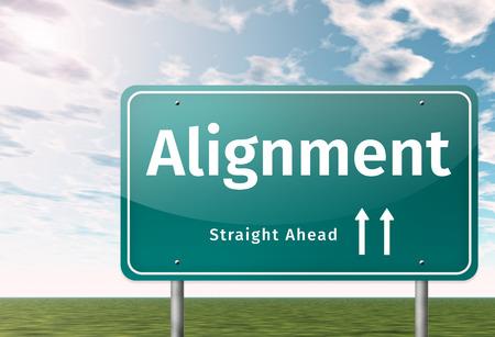 Wegwijzer met Alignment-formulering Stockfoto