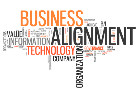 Word Cloud with Alignment related tags Stock Photo