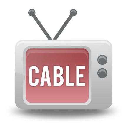TV 관련 문구가있는 판지 스타일 아이콘