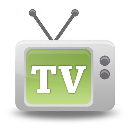 Icône de style carton avec libellé lié à la télévision Banque d'images - 92952153