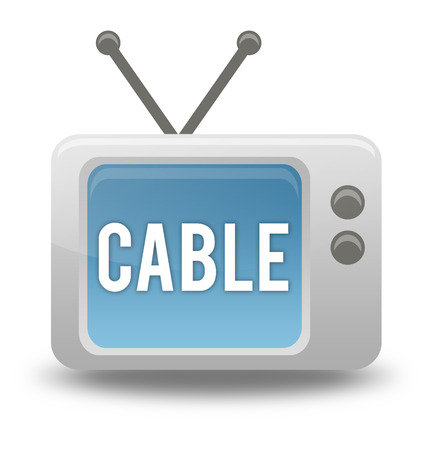 Carton-style icon with TV related wording Stock Photo