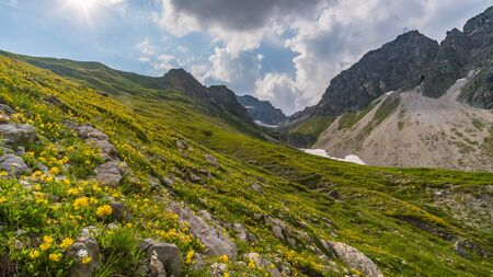 Beautiful mountain hike on the Great Widderstein in the Allg?u Alps in the Kleinwalsertal Banco de Imagens