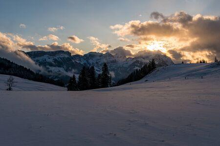 Wonderful winter hike from Restaurant Eggli over the Forstseeli and Diepoldsauer sponge to the F?hnerenspitz in the Appenzeller Land in Switzerland