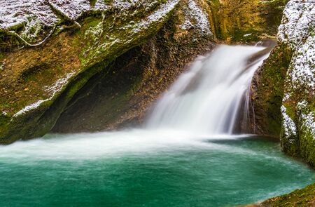 Icy waterfall in winter at the Eistobel in the Allgaeu. Banco de Imagens
