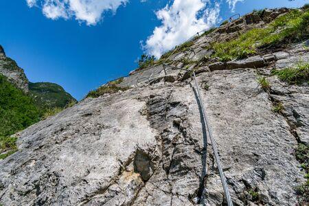 The Simmswasserfall, an adventure via ferrata near Holzgau in Austria along a waterfall