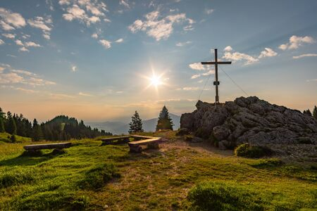Sunrise hike at Immenstadt in Allgau to the summit of Mittag at the Nagelfluhkette