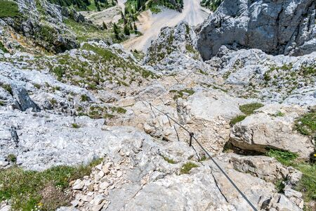 Mountain tour over the Rote Flüh and the Friedberg via ferrata to the Scharschrofen in the Tannheim mountains 版權商用圖片