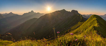 Fantastic sunset tour on the beautiful panoramic mountain Hoferspitze near Schrocken in the Allgau Alps, Kleinwalsertal