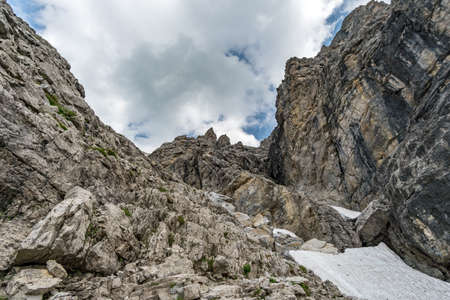 Beautiful mountain hike on the Great Widderstein in the Allgau Alps in the Kleinwalsertal