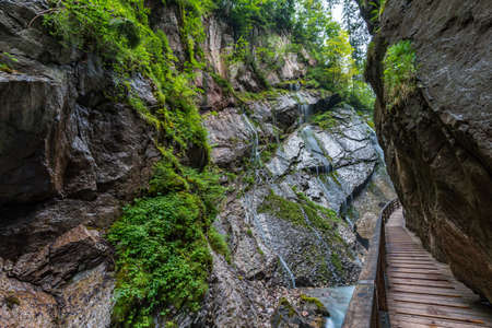 The wild and romantic Wimbachklamm in Ramsau is one of the Berchtesgaden sights in Bavaria. Stok Fotoğraf