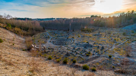 Fantastically beautiful stone labyrinth discovered in the middle of the forest in Upper Swabia.