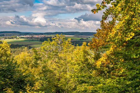 beautiful autumn hike in the colorful forest near wilhelmsdorf near ravensburg in upper swabia germany