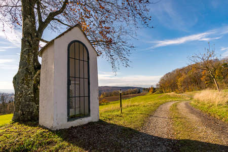 Autumn hike in the sunshine on the Hoechsten near Illmensee on Lake Constance Archivio Fotografico