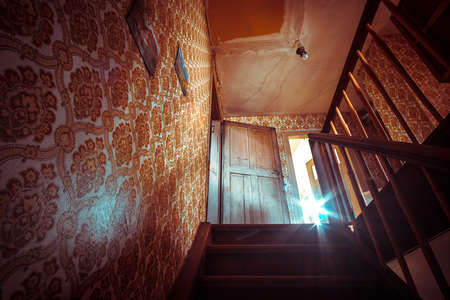 Creepy abandoned building with natural decay so-called lost place with retro interior decoration