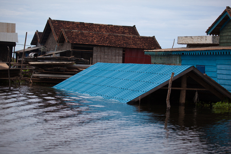 Tonle Sap lake was severely flooded, like the rest of the region Stock Photo