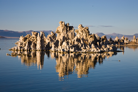 nevada: Tufa at Mono Lake, California reflected in lake