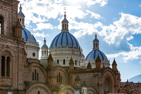 The Domes of the New Cathedral is a central feature of the Cuenca, Ecuador skyline Stock Photo