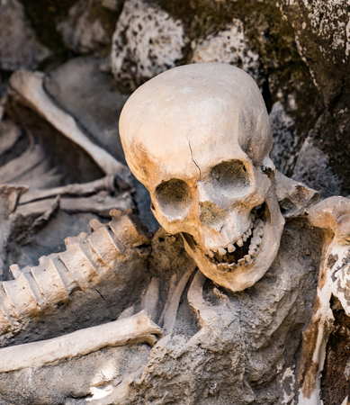 Skulls and bones found entombed in lava in Herculaneum, Italy